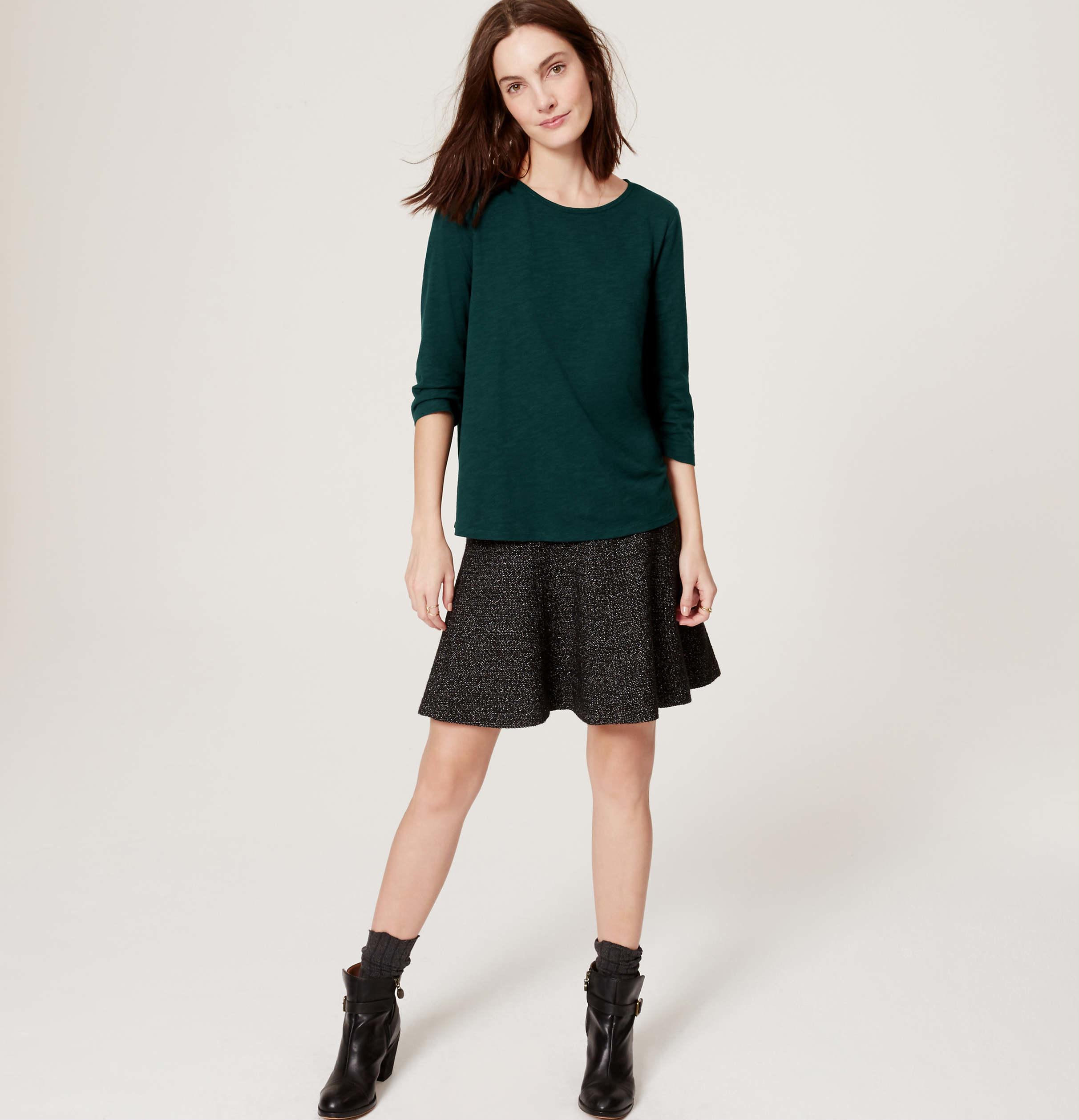 Loft tall ottoman flippy skirt in black lyst for Ann taylor loft fashion island