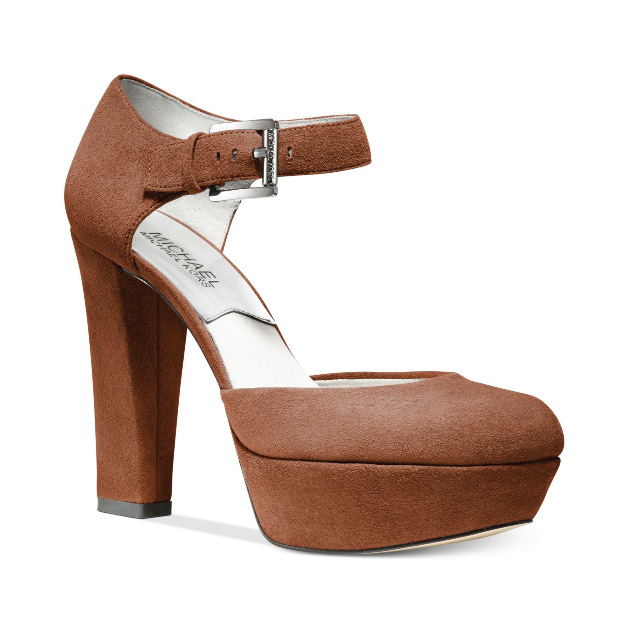 michael kors haven ankle strap platform pumps in brown cognac suede lyst. Black Bedroom Furniture Sets. Home Design Ideas