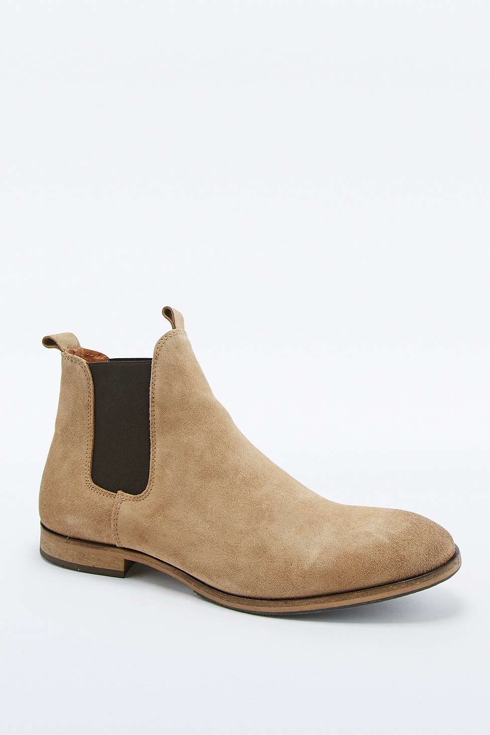 selected bolton sand suede chelsea boots in gray for