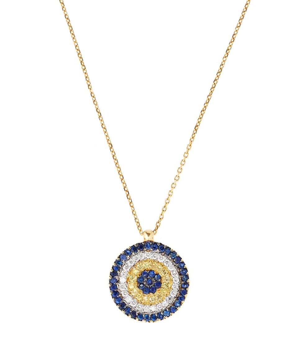 kojis gold sapphire evil eye pendant necklace in metallic