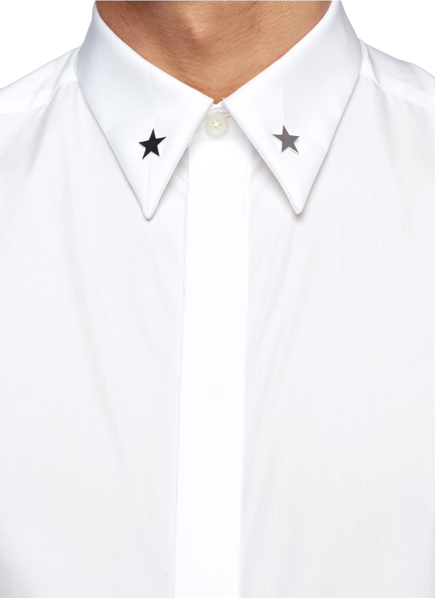 Lyst Givenchy Star Pin Collar Poplin Shirt In White For Men