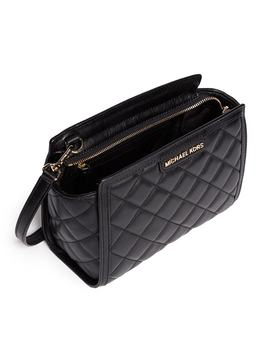 lyst michael kors selma medium quilted leather messenger bag in rh lyst com