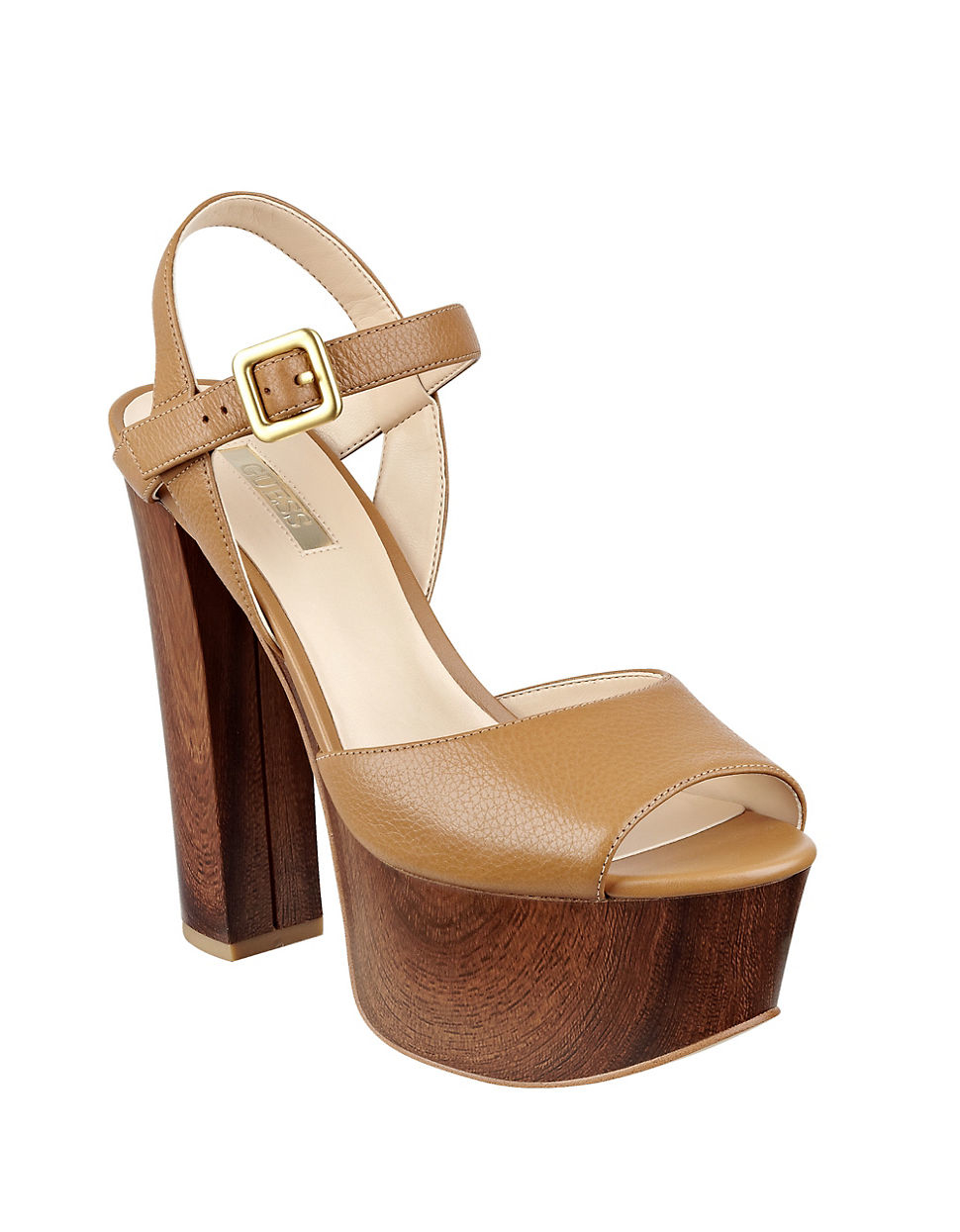 guess den platform sandals in brown lyst
