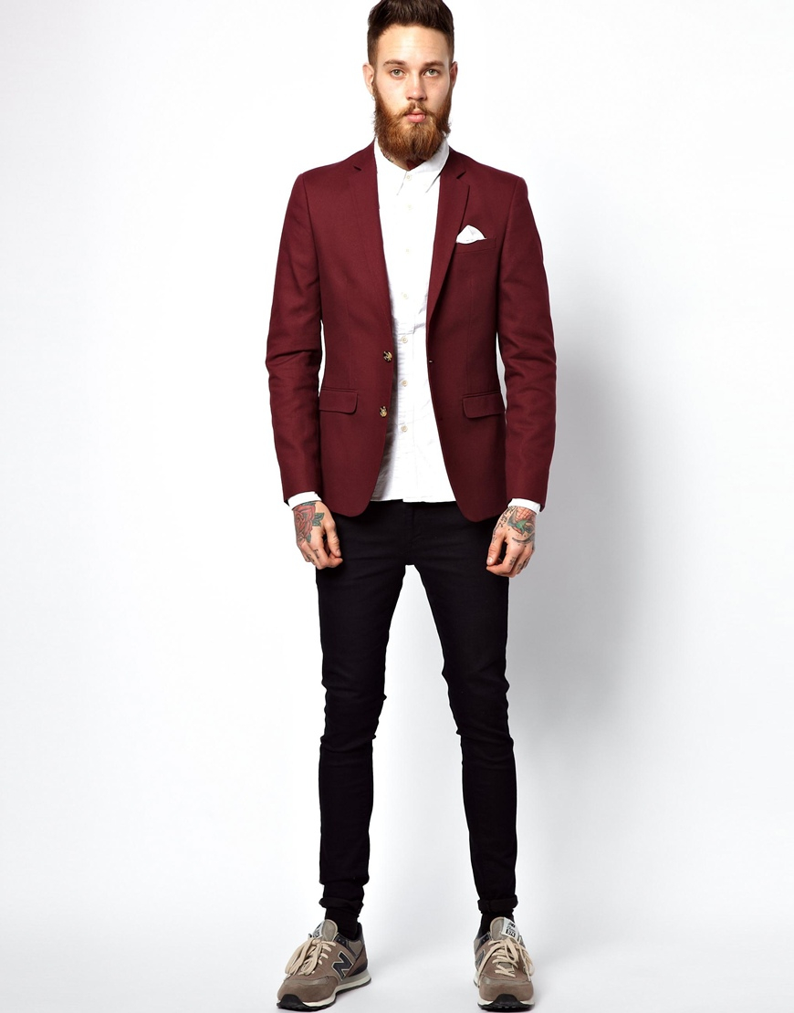 Asos Slim Fit Blazer In Cotton in Red for Men | Lyst