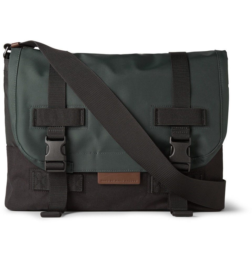 Lyst Marc By Jacobs Two Tone Canvas And S Messenger Bag In Green For Men