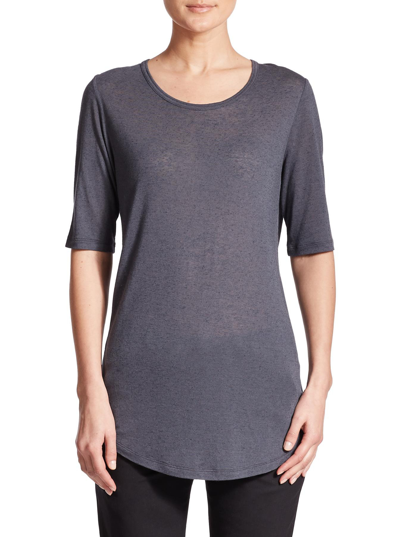 Lyst vince shirttail tee in black for Vince tee shirts sale