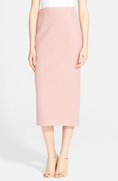 Tibi Boucle Knit Wool Pencil Skirt in Pink | Lyst