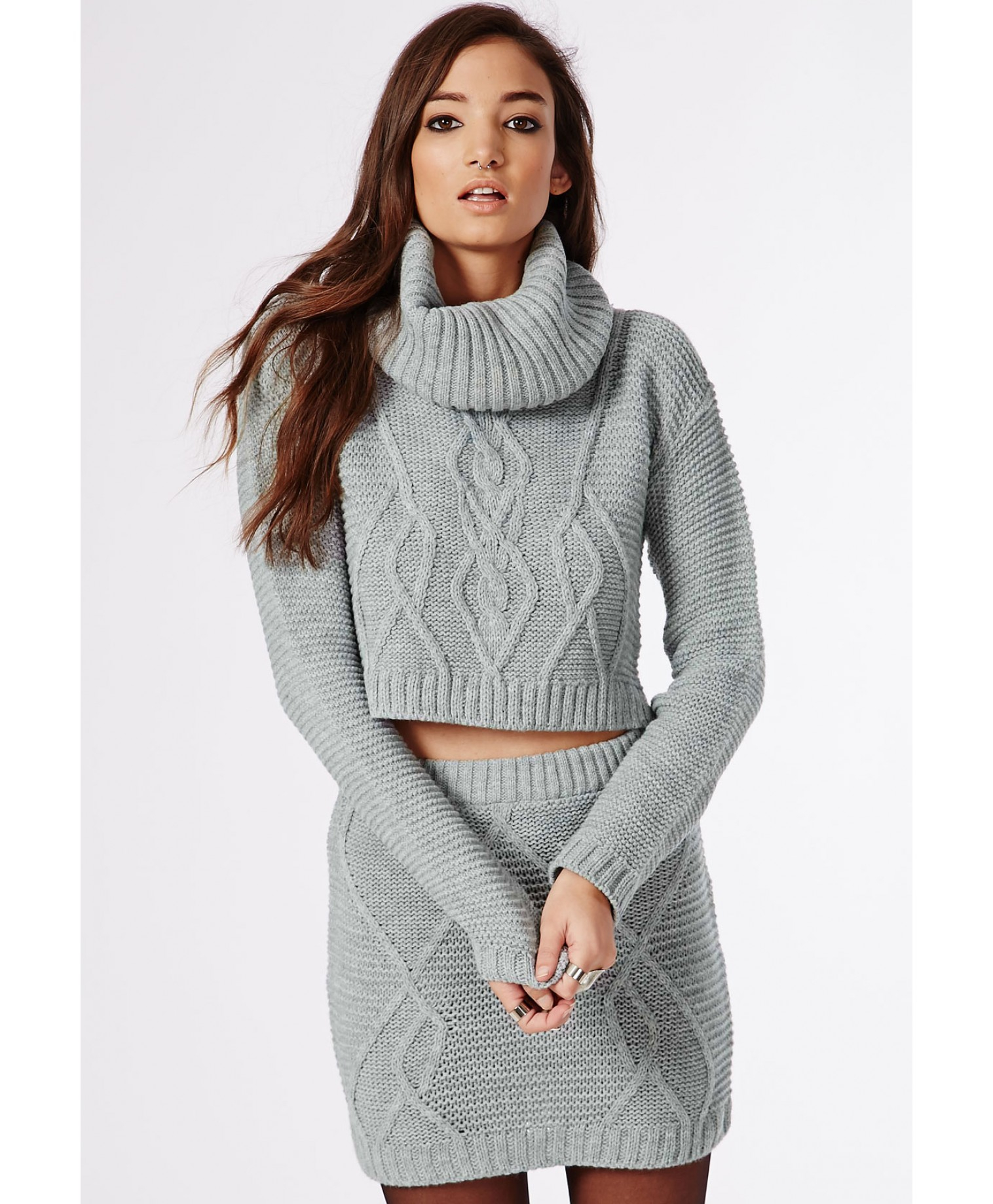 Missguided Aliya Roll Neck Cable Knit Crop Sweater Grey in Gray (grey) Lyst