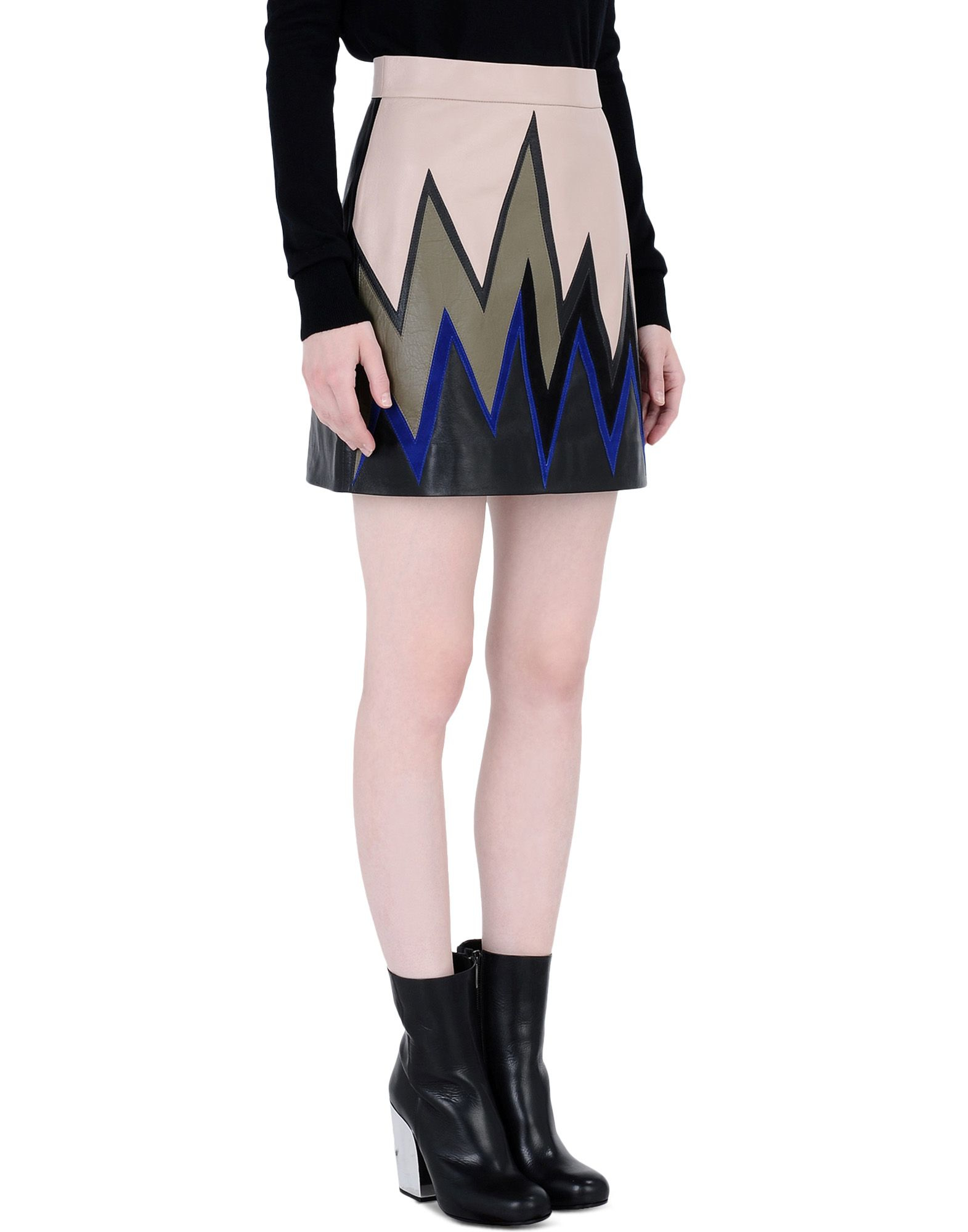 emilio pucci leather skirt in multicolor skin color lyst