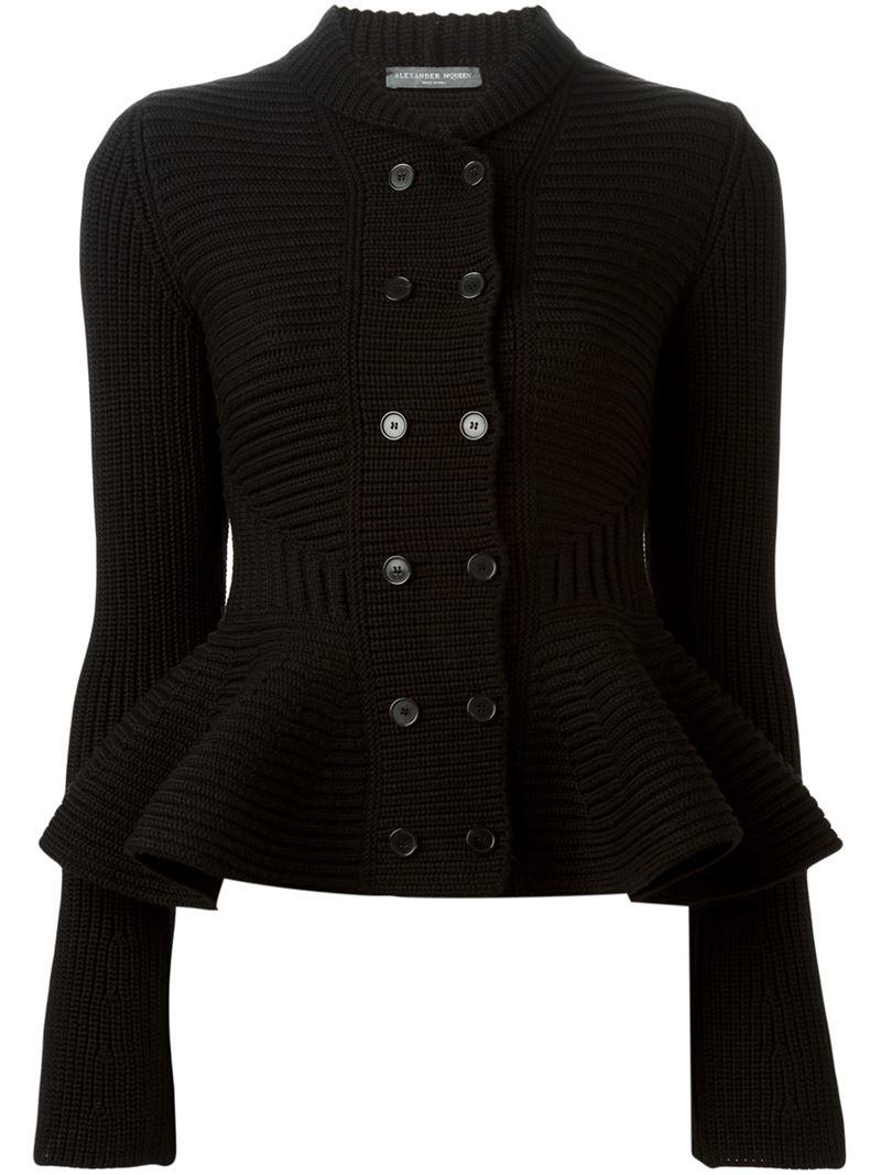 Alexander Mcqueen Wool Peplum Cardigan In Black - Lyst-4366