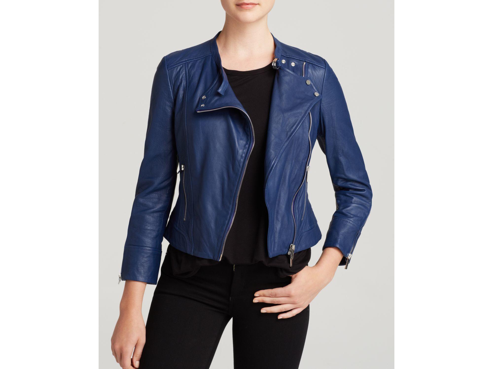 bebd11e7 Karen Millen Blue Biker Jacket - Bloomingdale's Exclusive