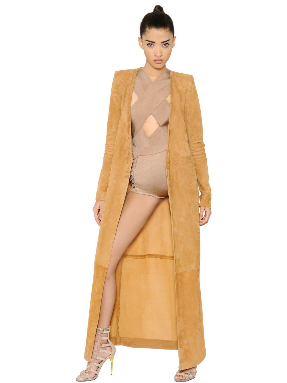 Balmain Belted Suede Long Coat in Brown | Lyst