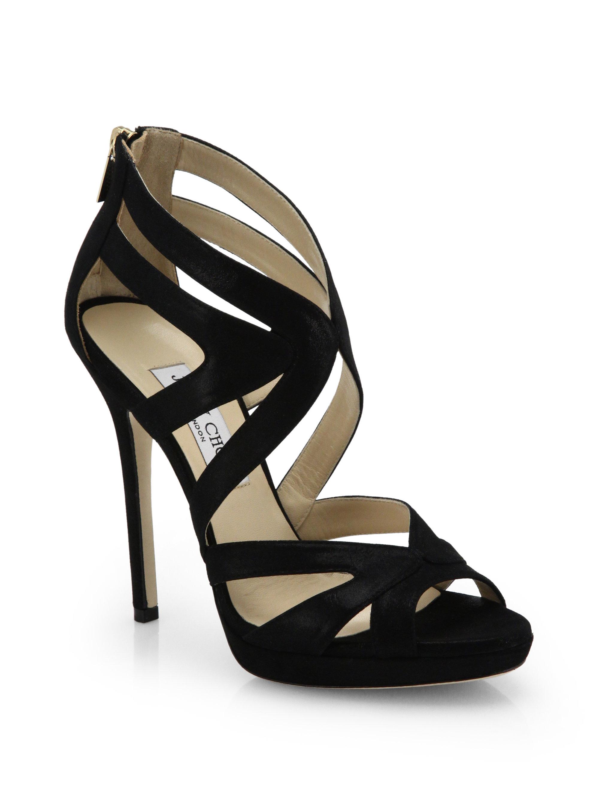 cde3bd82aea5 Lyst - Jimmy Choo Collar Shimmer Suede Platform Sandals in Black