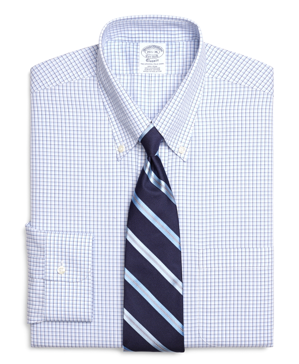 Brooks brothers non iron regent fit sidewheeler tattersall for Brooks brothers non iron shirts review