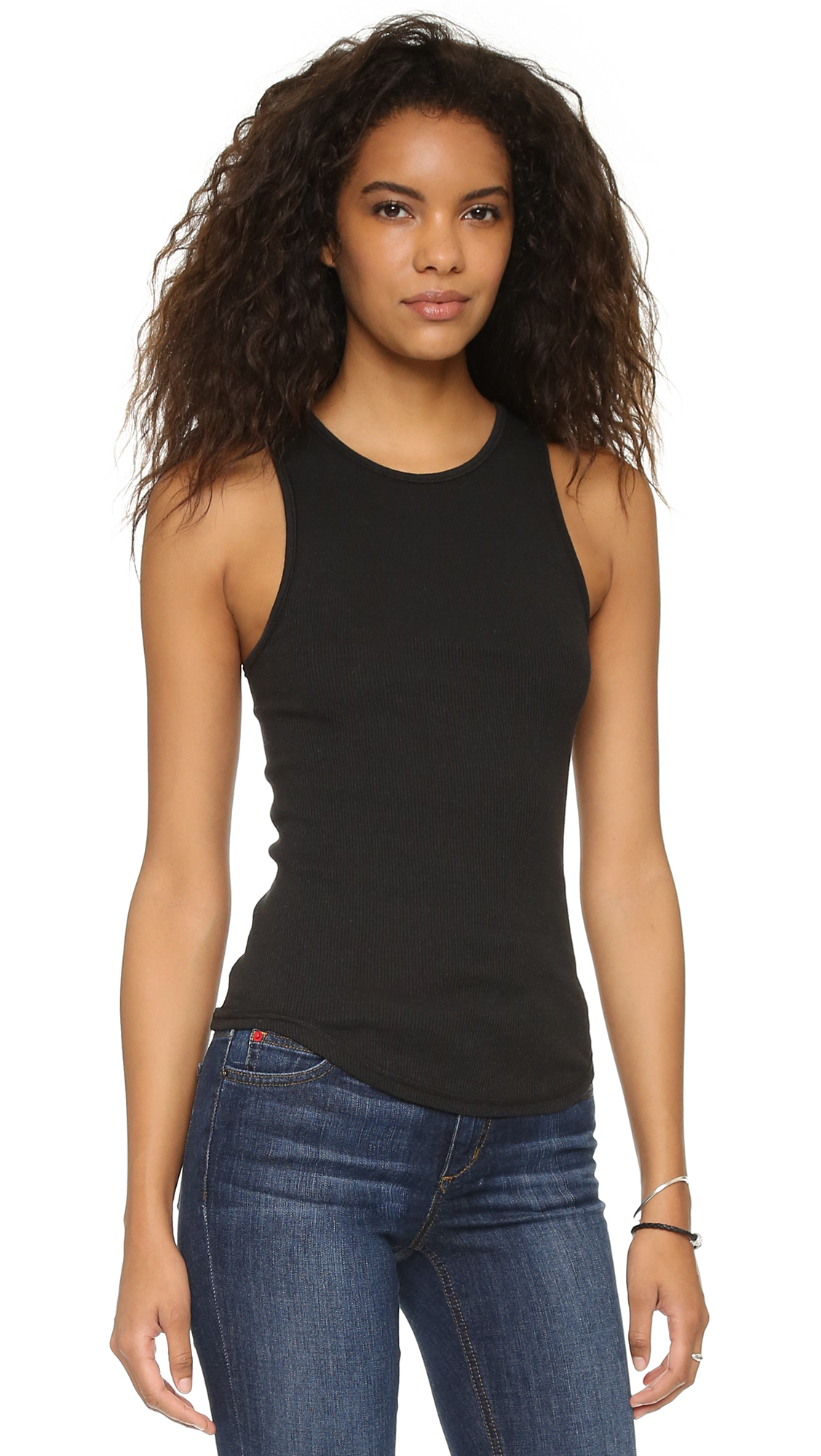 40390eaa567460 Lyst - Free People High Neck Muscle Tank in Black