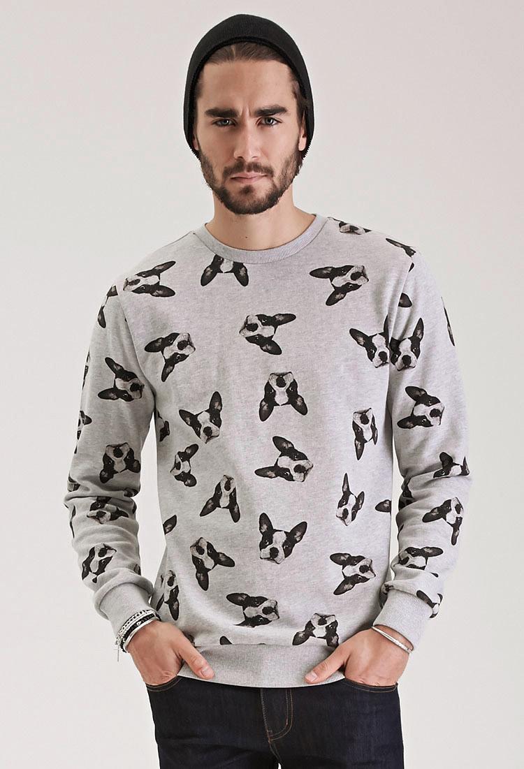 9f1a89c7f554e6 Forever 21 Boston Terrier Print Sweatshirt in Gray for Men - Lyst