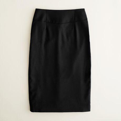 j crew telegraph pencil skirt in 120s wool in black