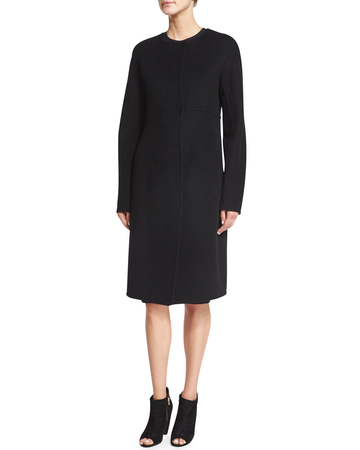 Donna karan Collarless Double-face Cashmere Coat in Black | Lyst