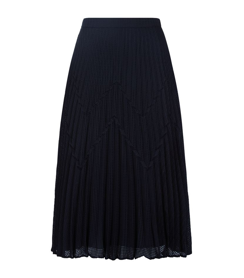 Our Pleated Midi Skirt comes in a luxe triacetate blend with a crepe face and shiny satin back. It has a flattering silhouette that's been cropped below the knee, and features a zipper at the back and hidden side pockets. Wear it as a stylish set with our.