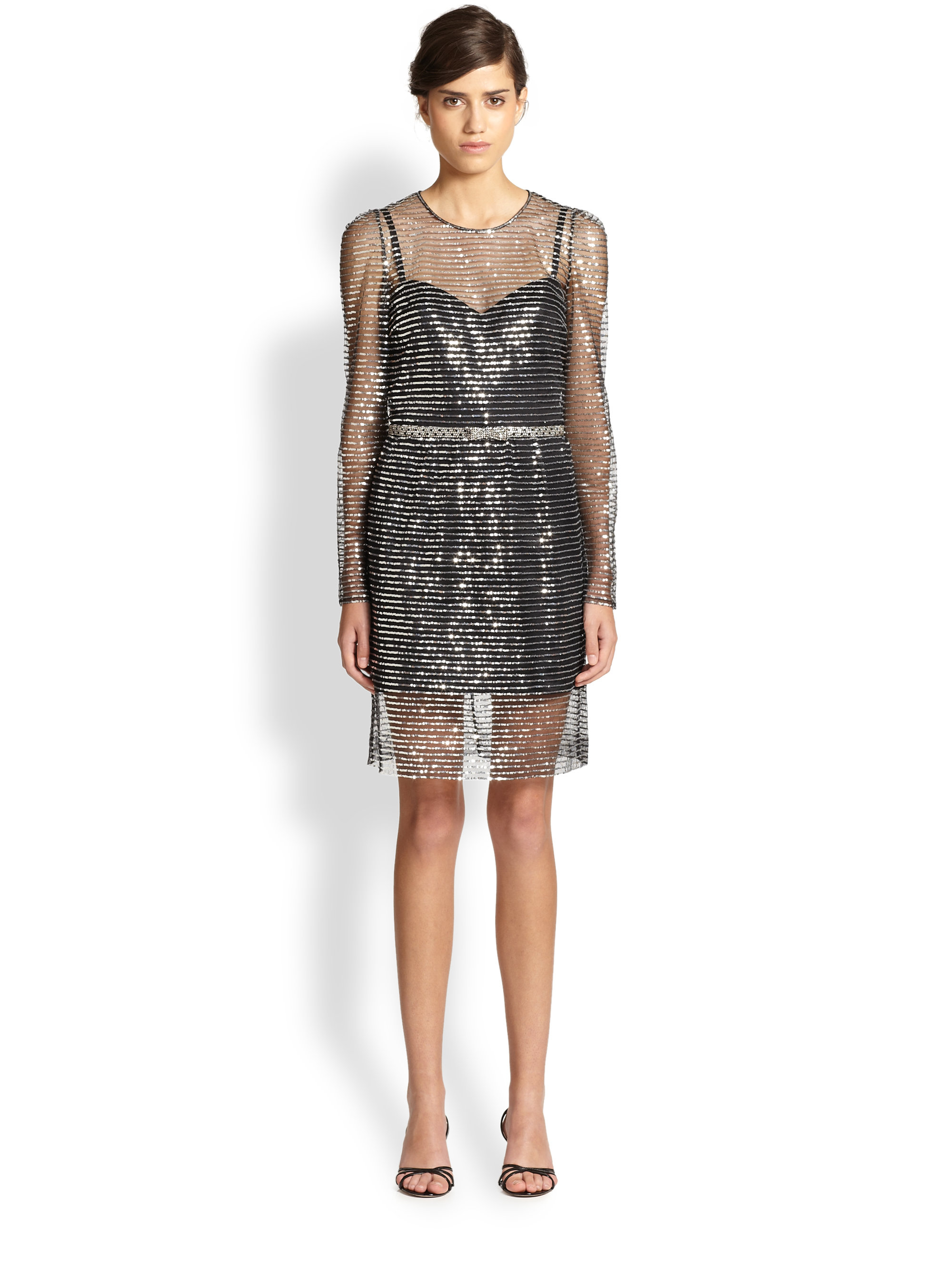 Lyst Marc Jacobs Sequined Stripe Dress In Black