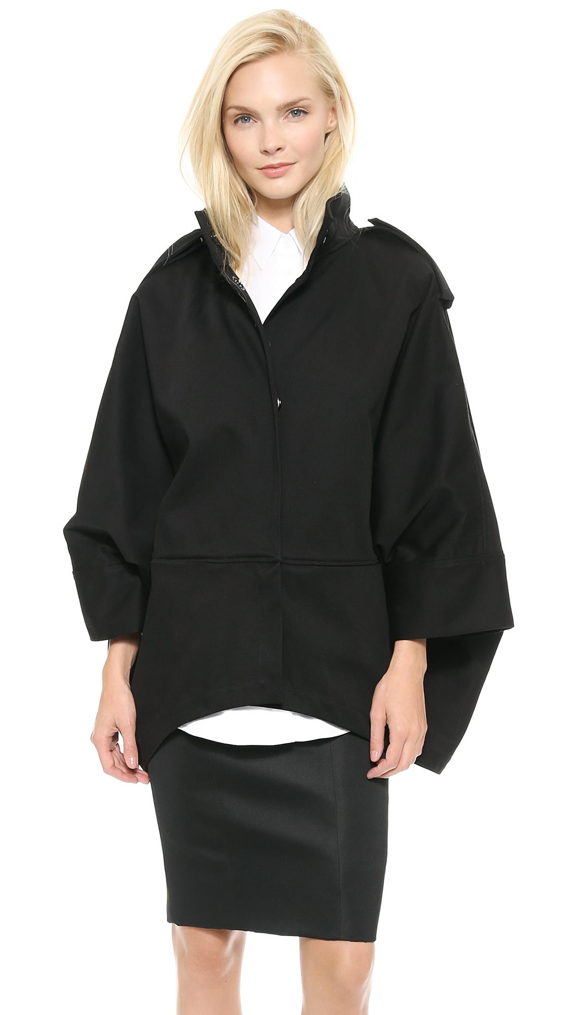 Acne Ezra Short Cape Coat - Black in Black | Lyst
