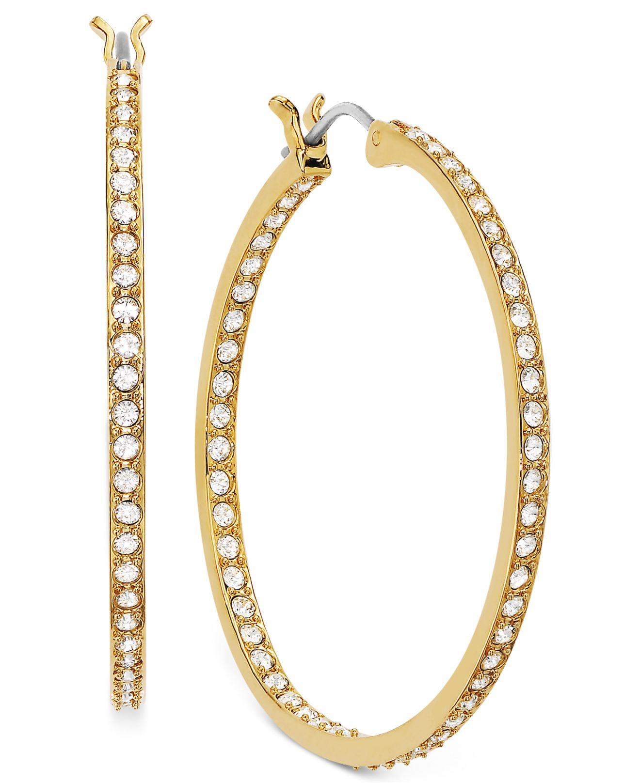 Lyst Swarovski Earring 22k Gold Plated Crystal Somerset Hoop Earrings In Metallic