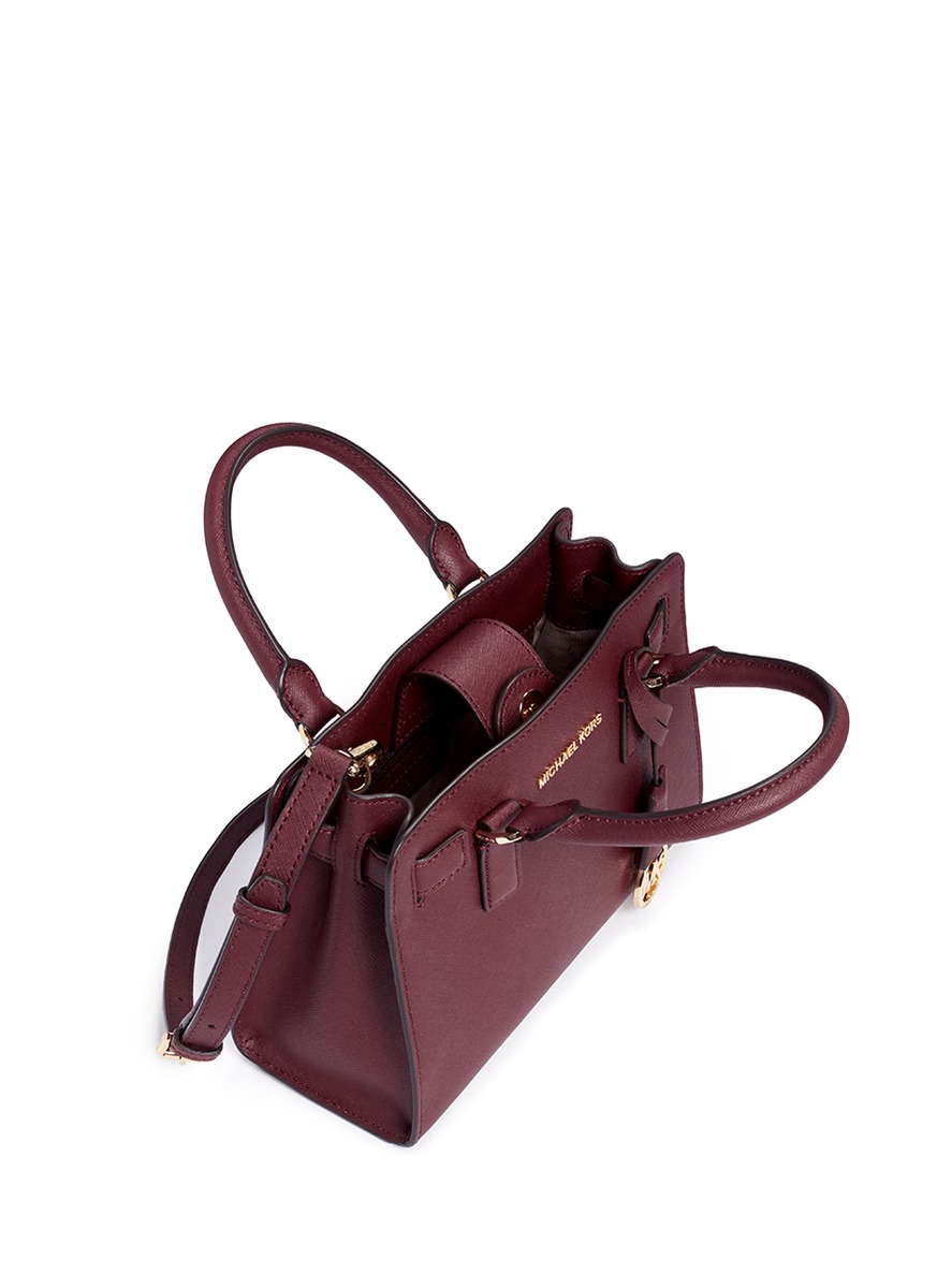 dcf4d6f2c066 ... new style lyst michael kors dillon small saffiano leather satchel in  brown dd649 a807a