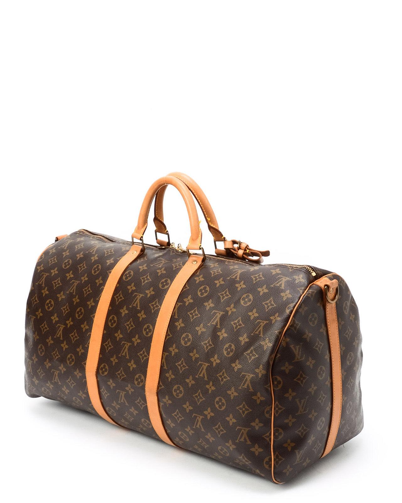 lyst louis vuitton monogram keepall 55 bandou travel bag in metallic. Black Bedroom Furniture Sets. Home Design Ideas