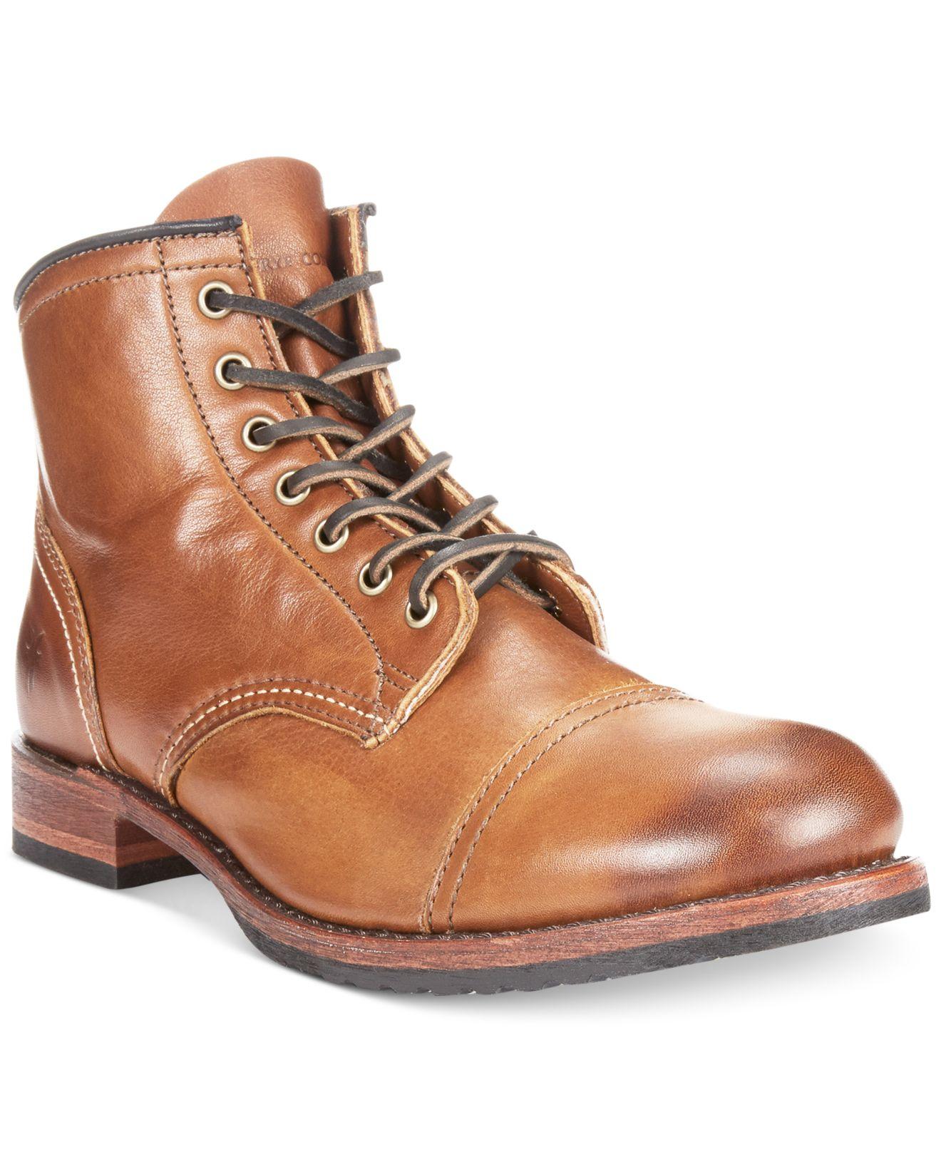 Frye Logan Cap Toe Boots in Brown for Men | Lyst