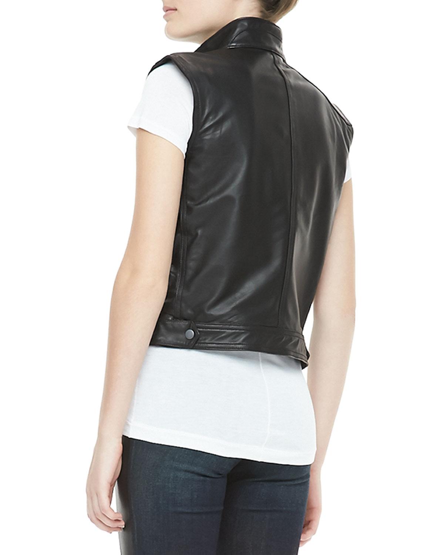 Rag Amp Bone Leather Zip Moto Vest In Black Lyst