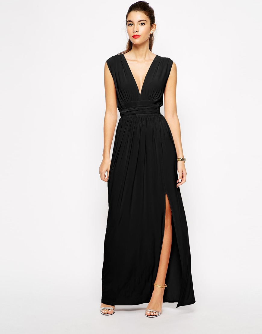 Love Plunge Neck Maxi Dress With Wrap Belt In Black Lyst