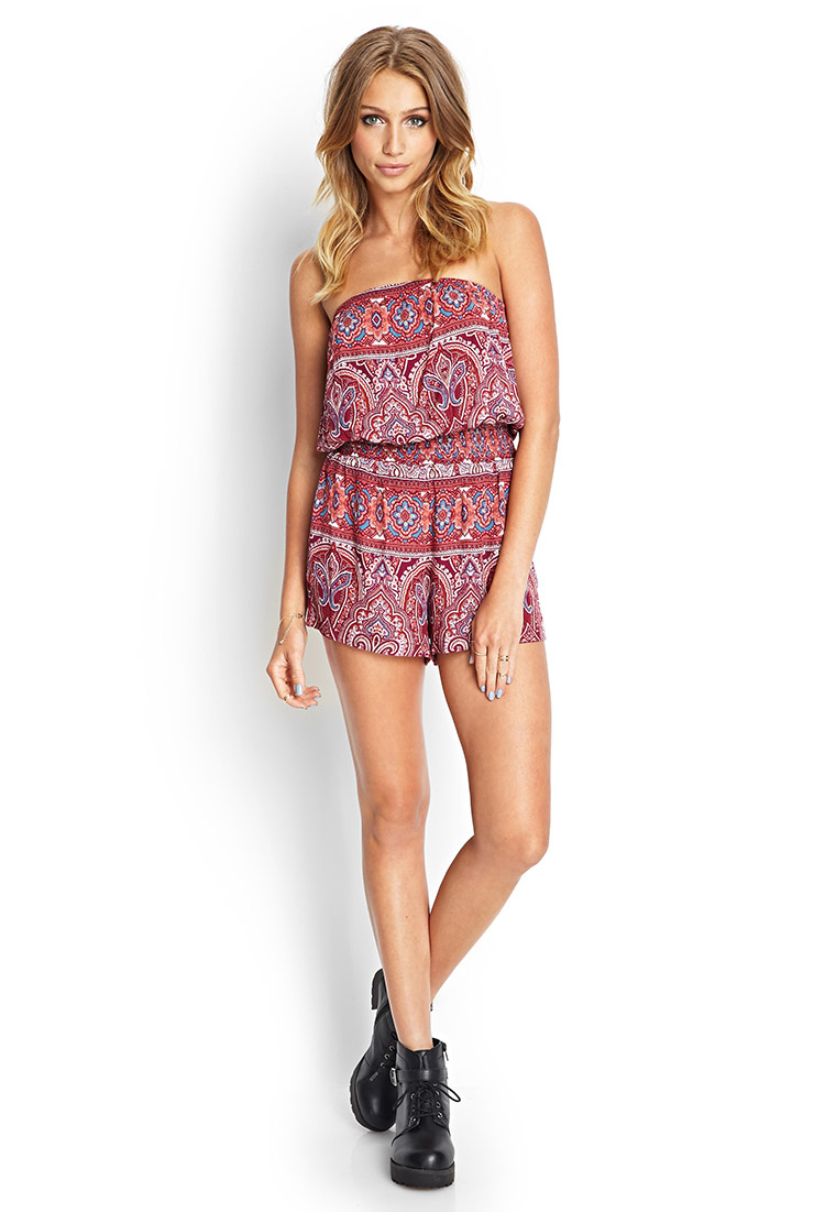 7ac0ce955794 Lyst - Forever 21 Paisley Print Strapless Romper in Red
