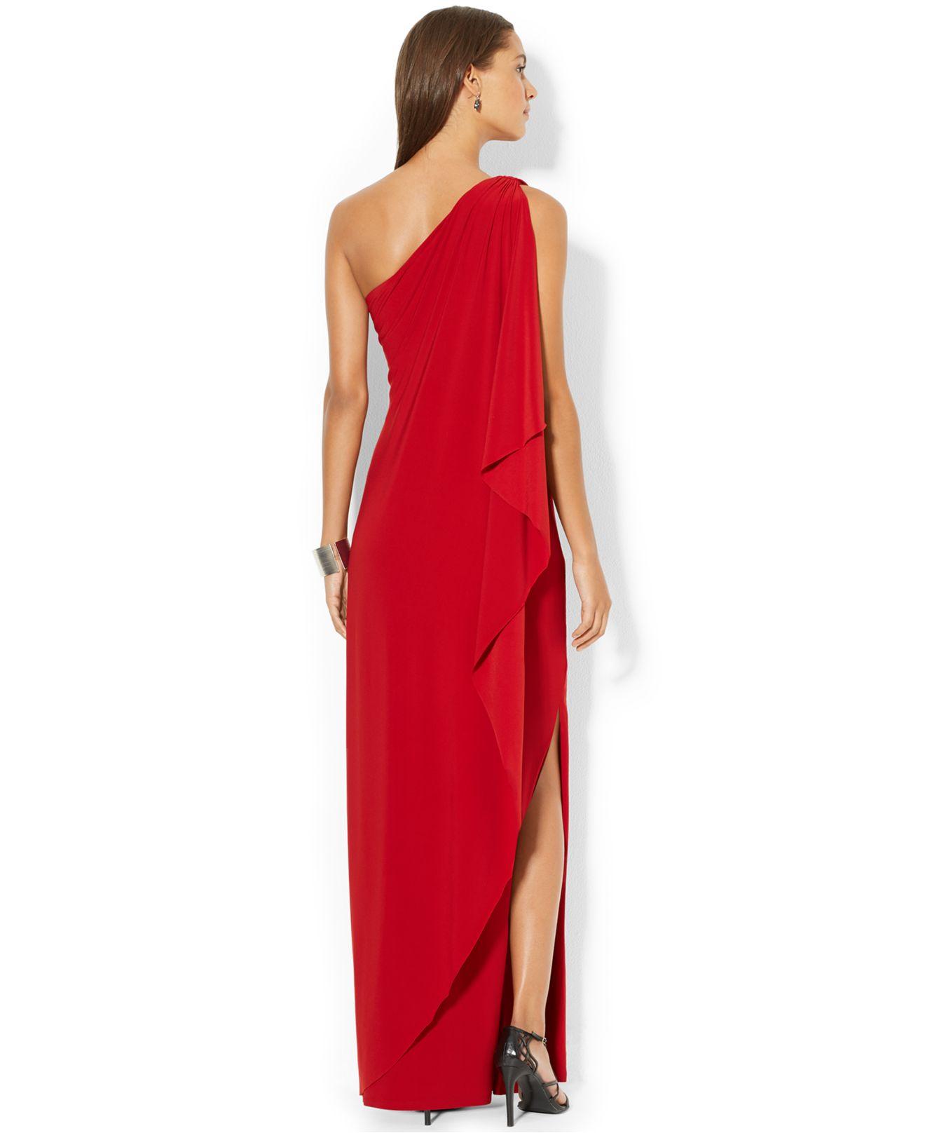 Lauren By Ralph Lauren One Shoulder Draped Gown In Red Lyst