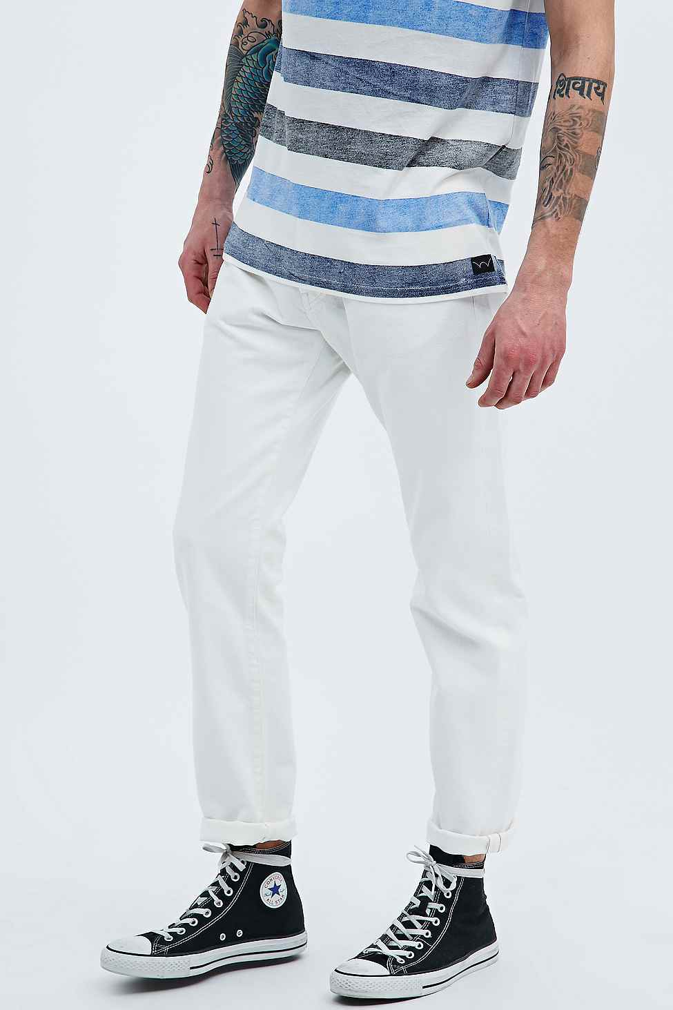 Edwin Ed-80 Red Listed White Slim Fit Tapered Jeans for Men