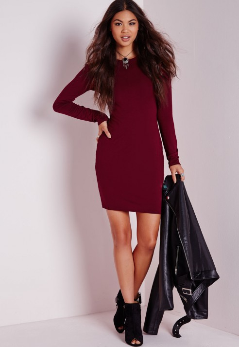 Lyst Missguided Long Sleeve Jersey Bodycon Dress