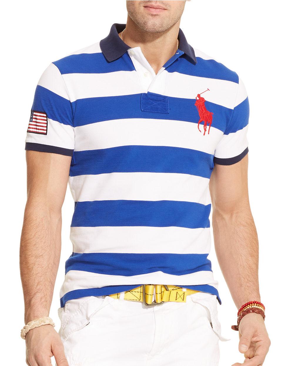 Polo ralph lauren custom fit striped mesh polo shirt in for Polo ralph lauren custom fit polo shirt