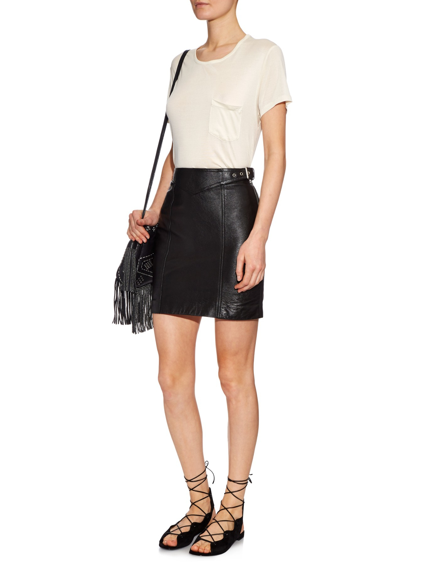 Saint laurent Side-buckle Leather Mini Skirt in Black | Lyst