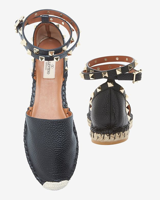 Valentino Rockstud Ankle Strap Flat Espadrilles Black In