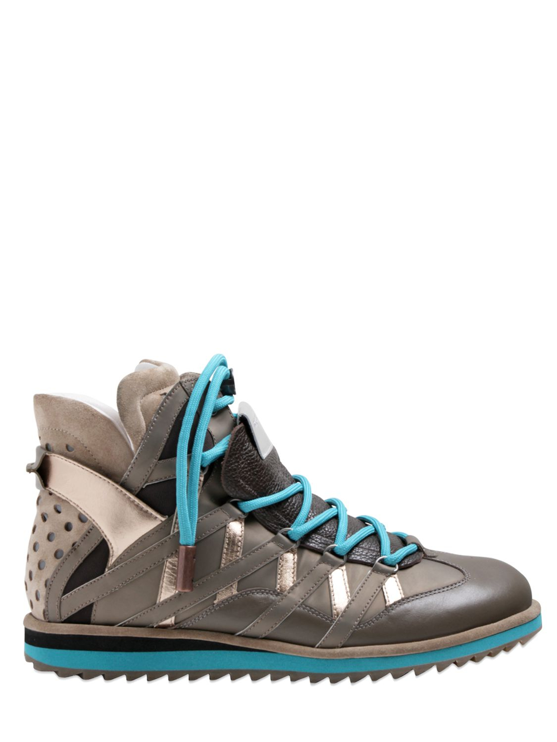 Dolce Amp Gabbana Grained Leather High Top Sneakers In Grey