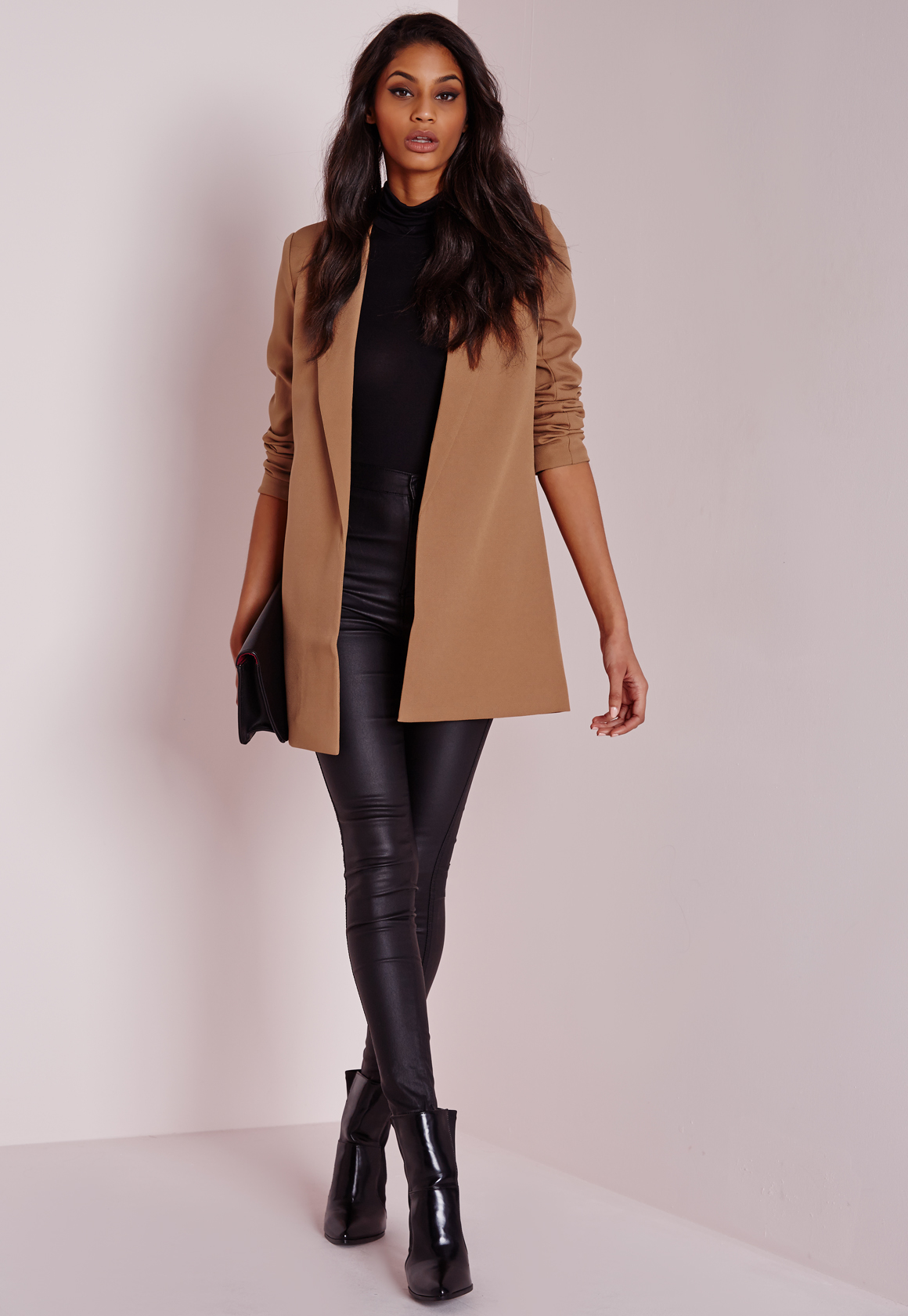 Lyst Missguided Longline Blazer Camel In Natural