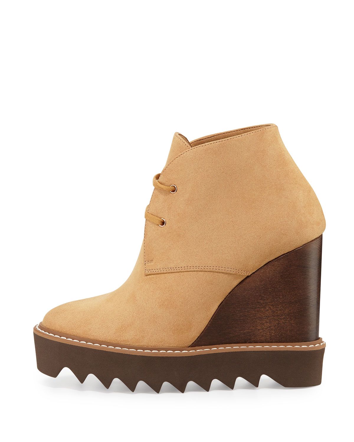 stella mccartney faux suede wedge boots in lyst
