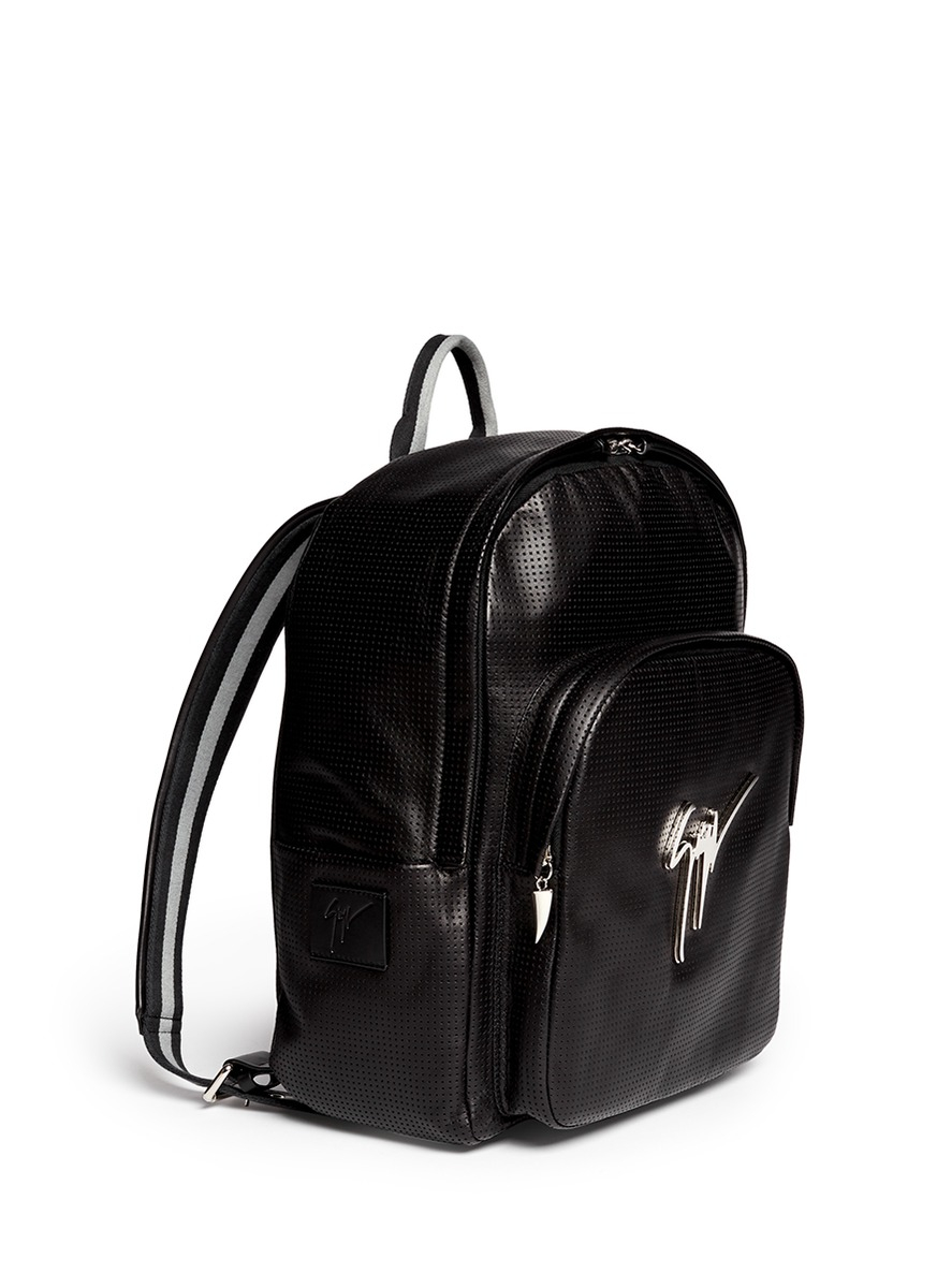 4d9785ea60df2 Giuseppe Zanotti Perforated Leather Backpack in Black for Men - Lyst