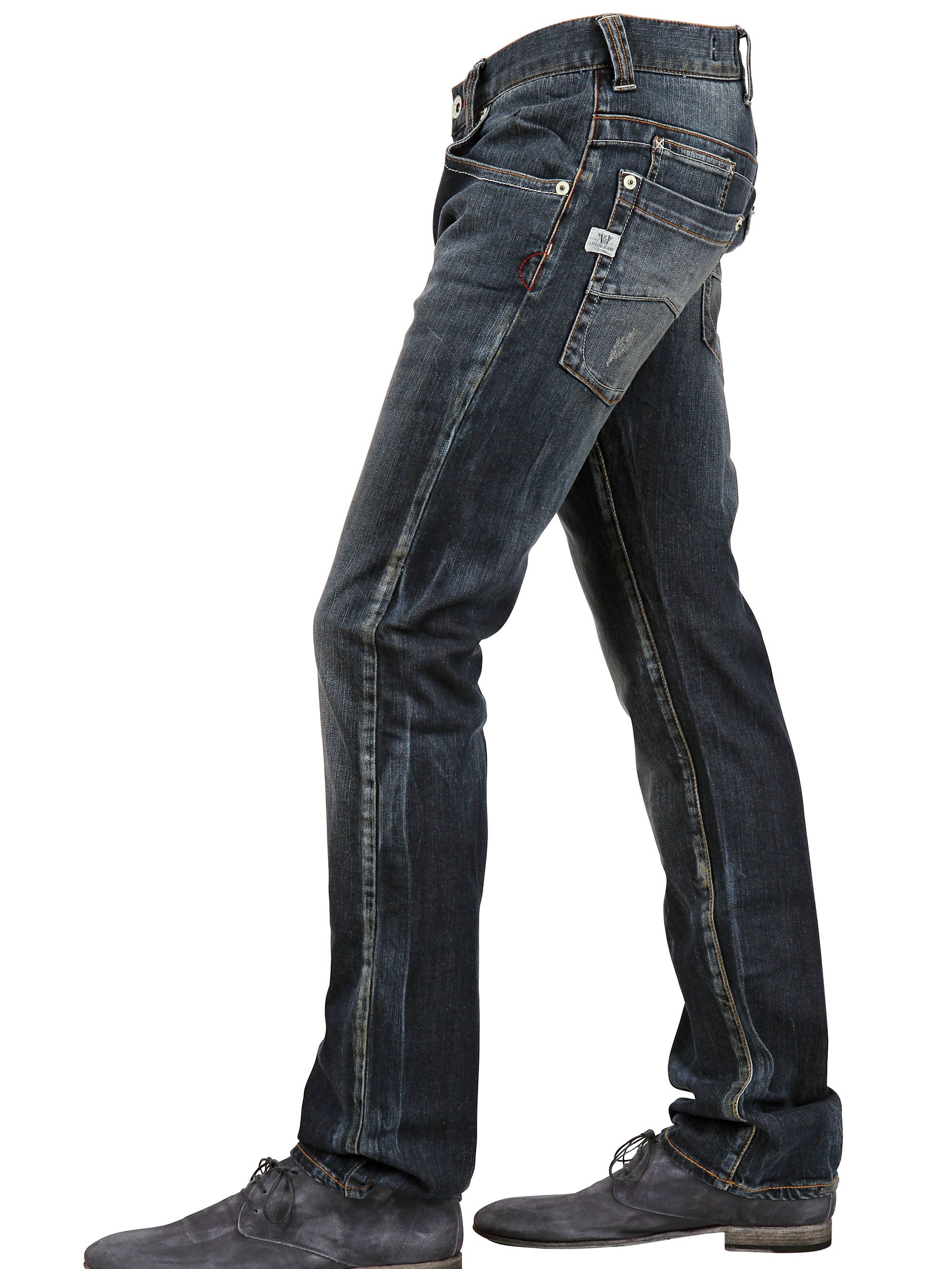 armani jeans 19 5cm low waist stretch denim jeans in blue. Black Bedroom Furniture Sets. Home Design Ideas