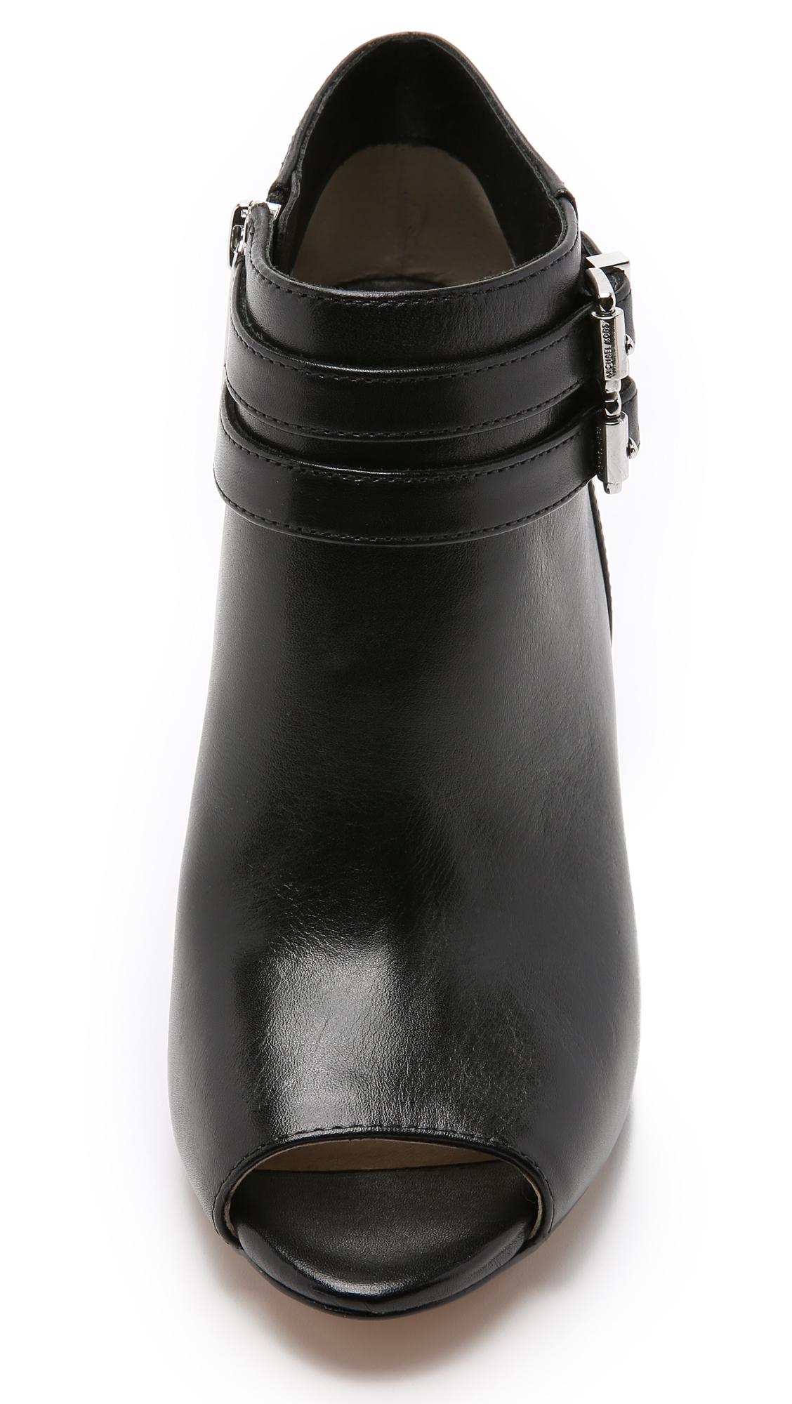MICHAEL Michael Kors Saylor Peep Toe Booties - Black