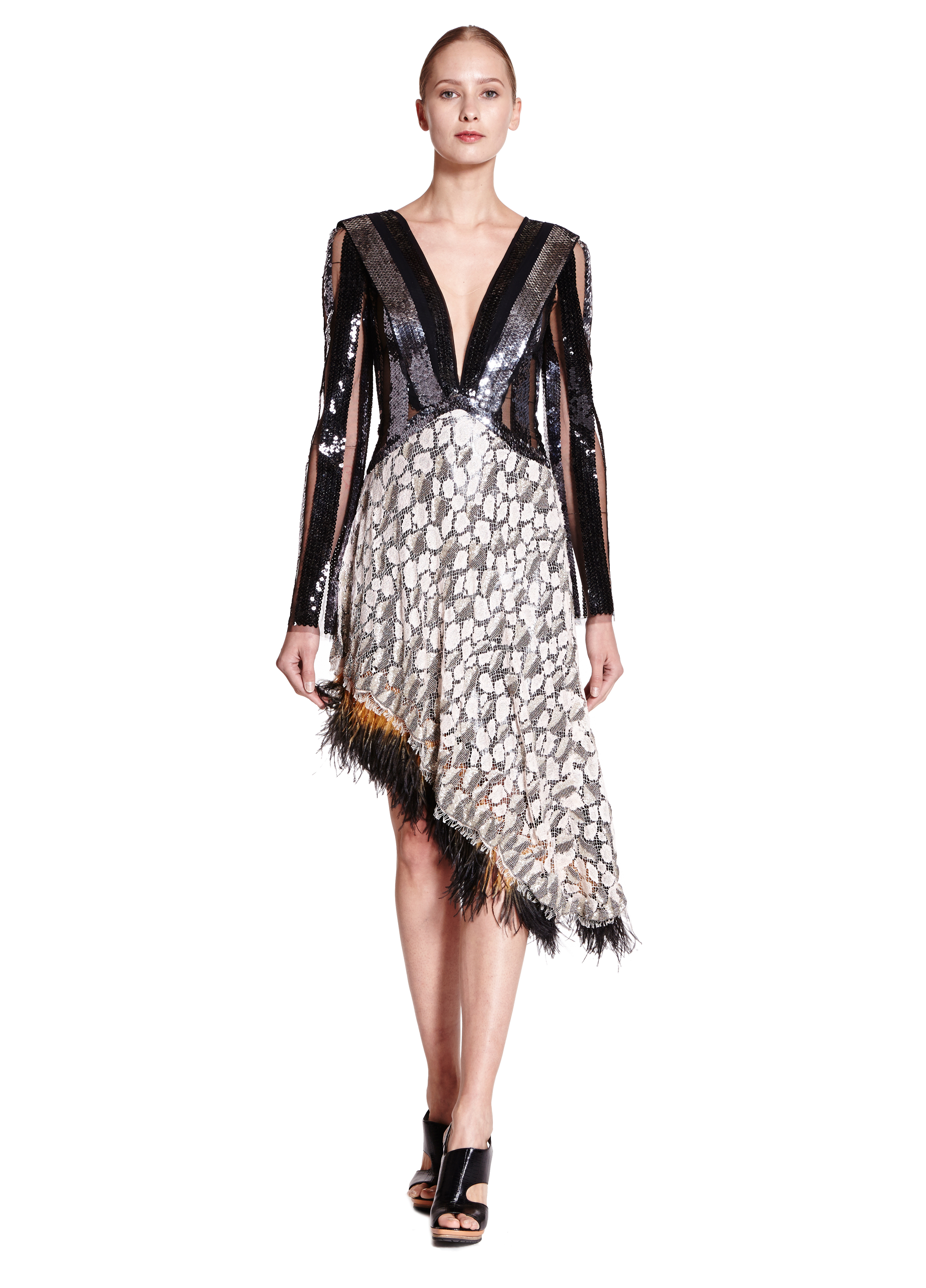 rodarte beaded sequin dress with dyed ostrich feather