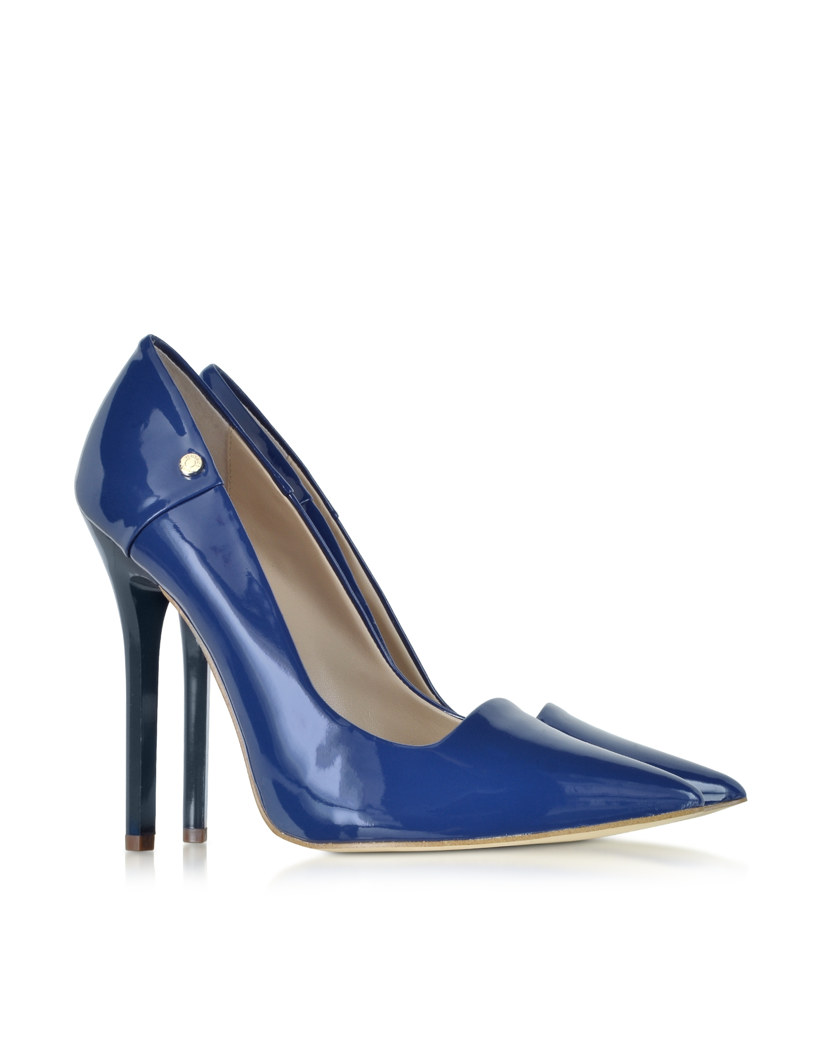 Versace jeans Navy Blue Patent Eco Leather Pump in Blue | Lyst
