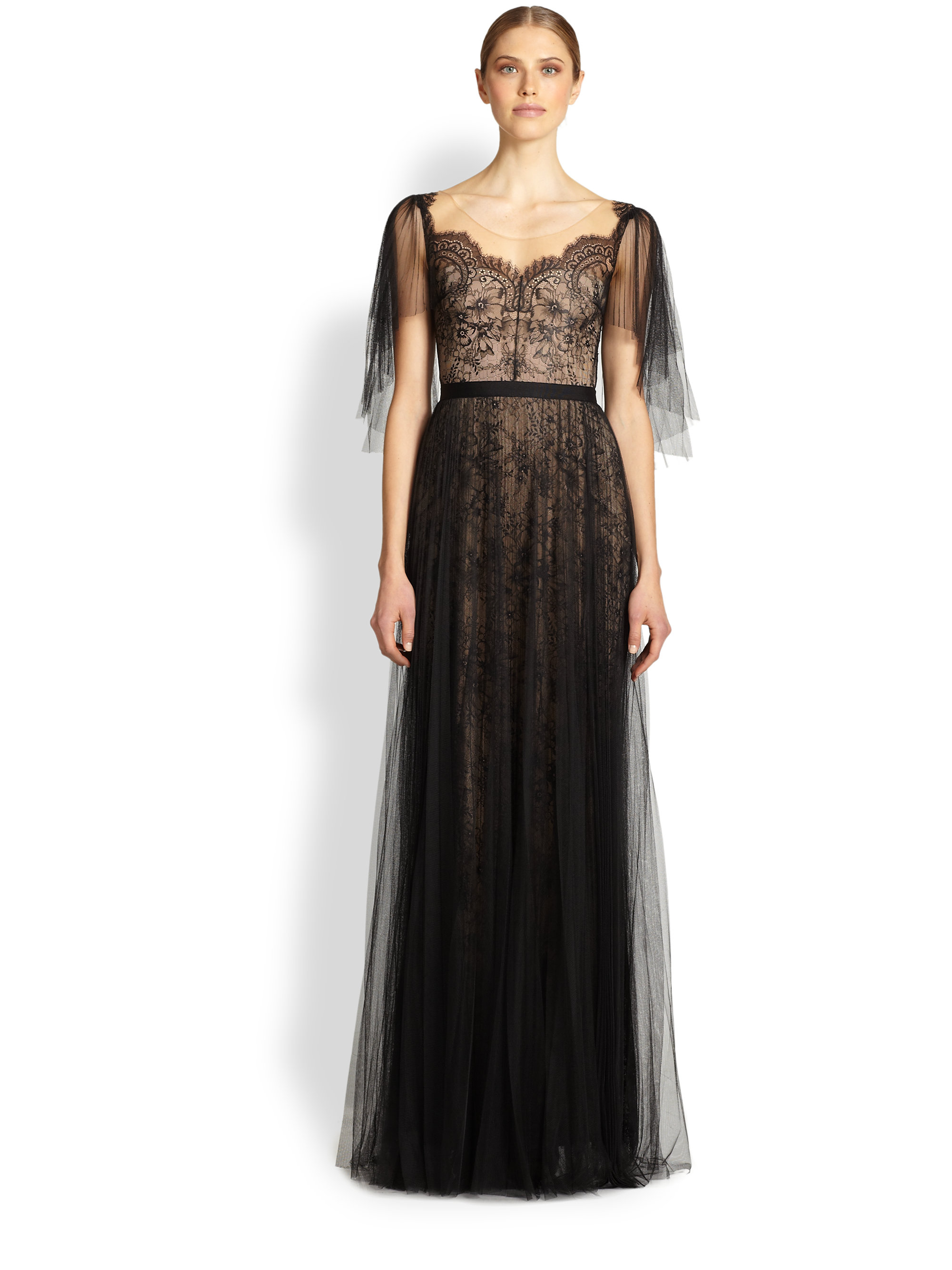 Lyst Notte By Marchesa Draped Tulle Lace Gown In Black