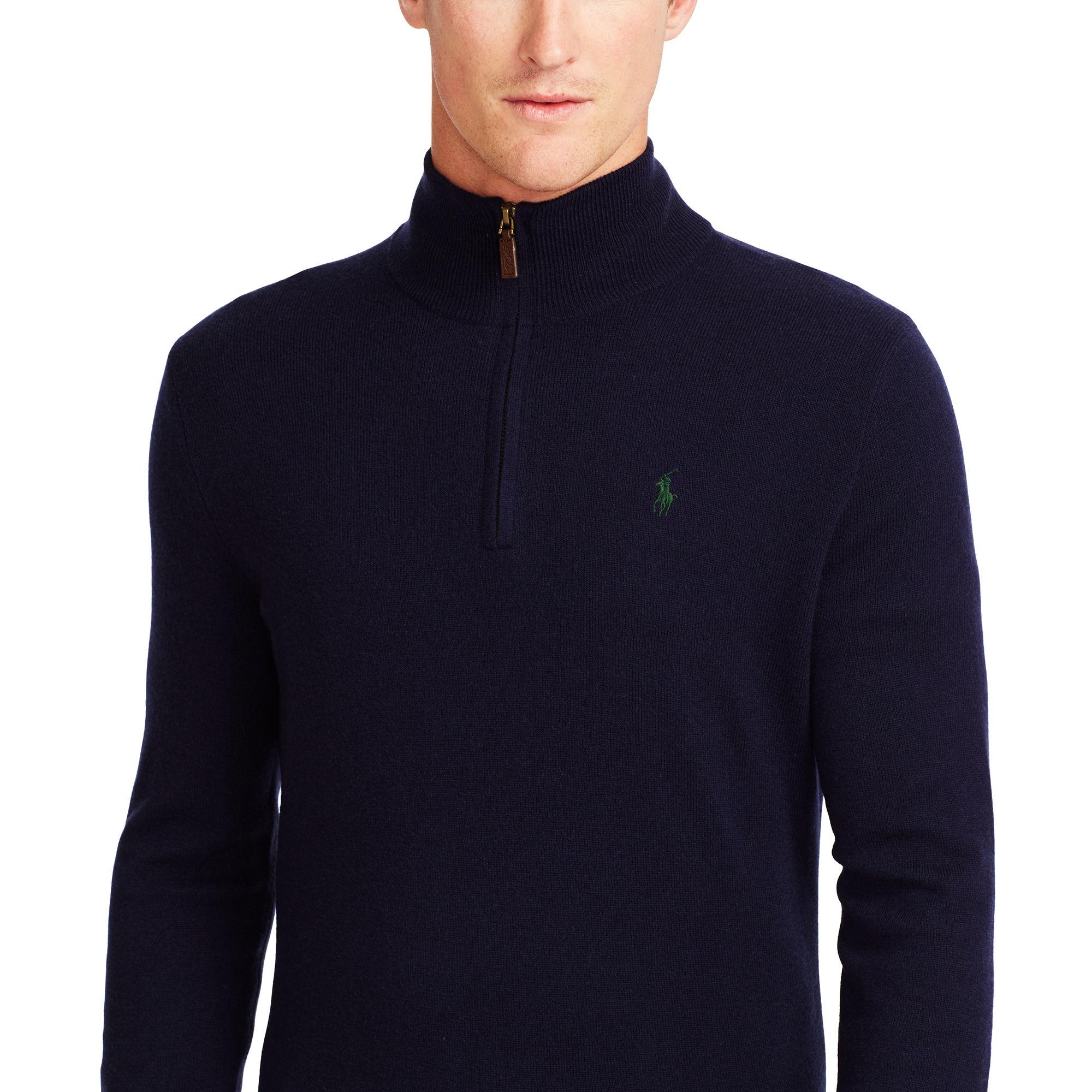 Sweater Zip Half For Lyst Ralph Lauren Men Polo Wool 53c4ARqjL