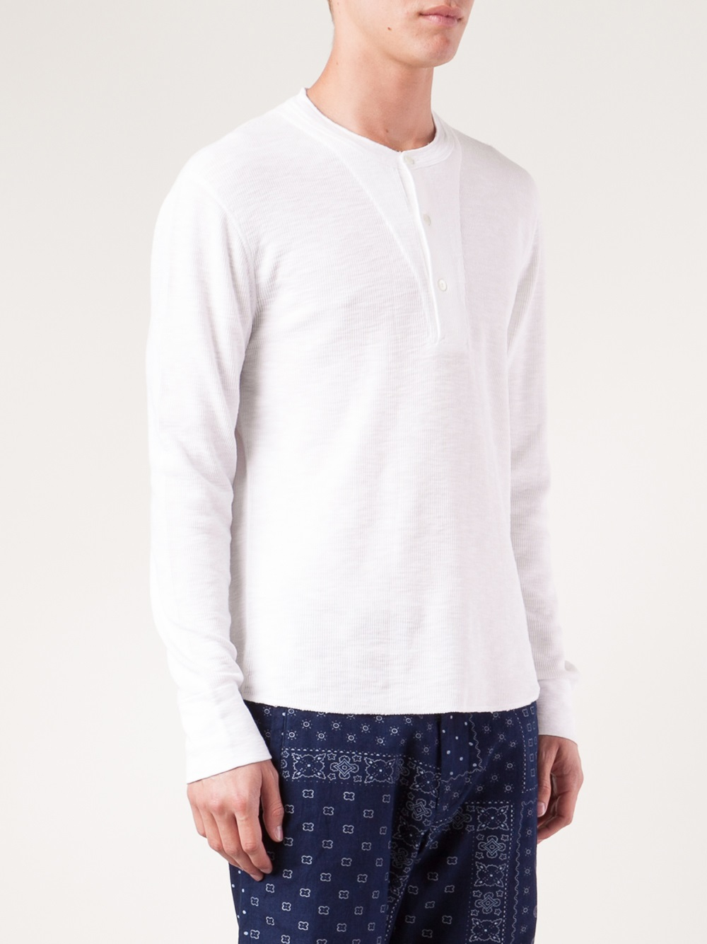 Alex Mill Waffle Knit Henley T-Shirt in White for Men
