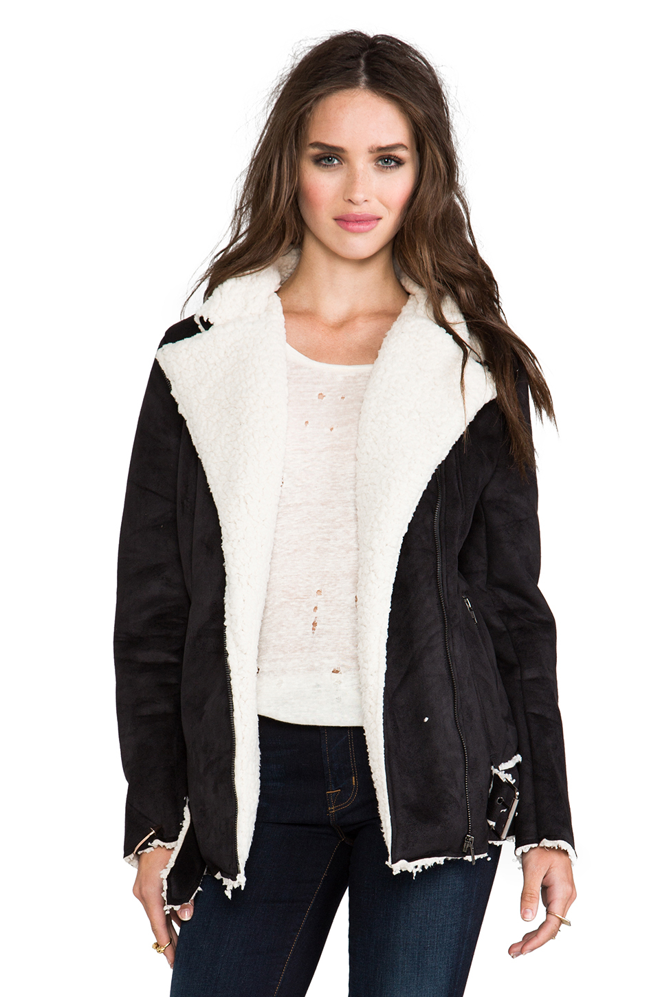 Women's black shearling coat